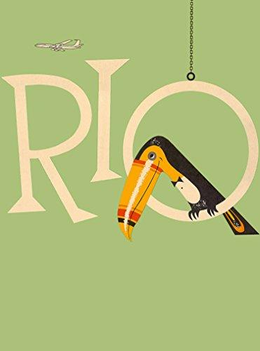 Rio de Janeiro Brazil Toucan South America Vintage Travel Advertisement Poster