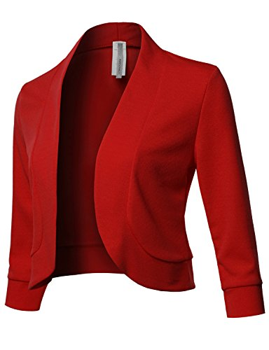 Solid 3/4 Sleeves Open Front Bolero Jacket Shrug - Made in USA Red S (Jacket Holiday Womens)