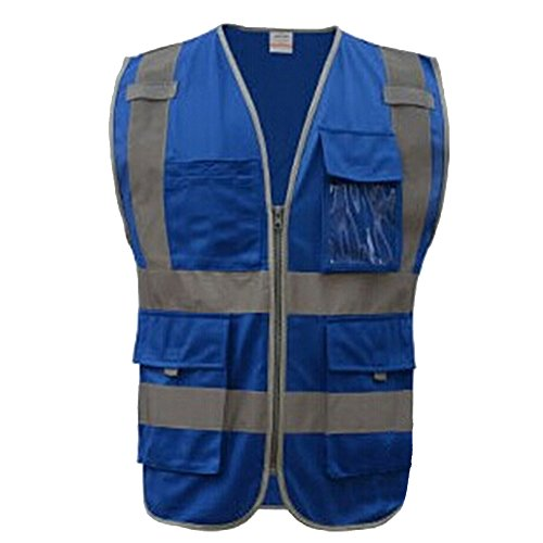 GOGO 8 Pockets High Visibility Zipper Front Safety Vest With Reflective Strips - Blue,L