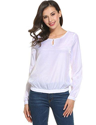 ANGVNS Damen Chiffon Bluse Satin Schlupfbluse Leichte Langarm Shirt mit geknöpften  Rundhals Weiß Gr.42