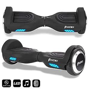 Phaewo Hoverboard Bluetooth con luz LED, Tablero de Equilibrio automático, Scooter de Dos Ruedas con Auto Equilibrio, Certificado por UL (batería ...