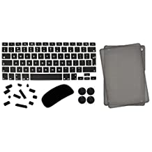 """5 in 1 Lilware Universal Accessory Kit for Apple MacBook Air 13"""". Set of Smooth Touch Slim Matte Hard Plastic Case (for Model: A1369) + Waterproof UK / EU International Keyboard Cover (Compatible Also with Apple MacBook Pro 13.3"""" and 15.4 """"with Retina Display) + Magic Mouse Softskin Protector + Anti Dust Plugs + 4 Pack Replacement Rubber Feet. Black / Grey"""