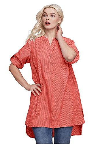 Ellos Women's Plus Size Striped Henley Tunic Dusty Coral Stripe,2X (Cotton Henley Size Plus)