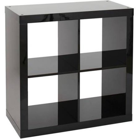 Versatile Better Homes and Gardens Square 4-Cube Organizer, Multiple Colors (High Gloss Black (Black Lacquer Storage)