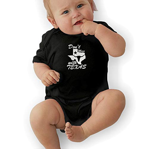 Don't Mess with Texas State Longhorn Star Funny Baby Onesies Novelty Toddler Infant Bodysuits Short Sleeve 6M Black
