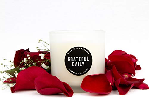 Fresh Garden Rose Soy Candle | Highly Scented & Long Lasting | Handmade in the USA | Clean and Slow Burning | 200 g