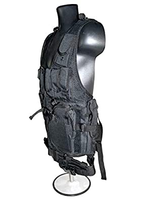 Sniper Tactical Vest and Belt with Padded Right Shoulder and Cross Draw Holster in Black