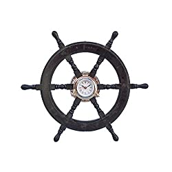 Deluxe Class Wood and Chrome Pirate Ship Wheel Clock 24 - Ship Wheel Clock
