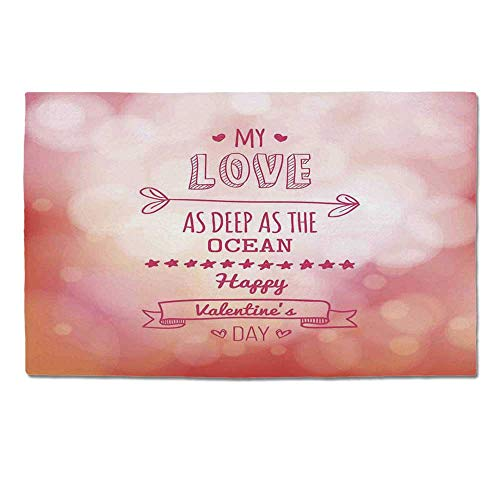 YOLIYANA Valentines Day Durable Door Mat,Pink Decor My Love Deep as The Ocean Romantic for Her with Star Hearts Arrow for Home Office,One Size