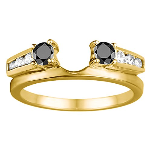 Black Diamonds Ring Enhancer Mounted In Sterling Silver(0.31Ct) Size 3 To 15 in 1/4 Size Interval ()