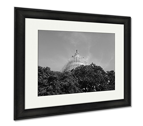 Ashley Framed Prints Scaffolding On Capitol Hill Peeks Through Trees On A Clear Blue Day, Office/Home/Kitchen Decor, Black/White, 30x35 (frame size), Black Frame, - Mall Hill Capital