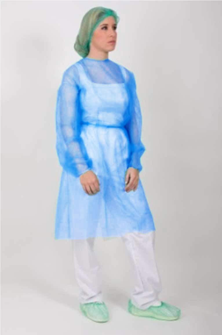 Bata protección médica desechable. Pack 10 Ud. Azul con cierre ...