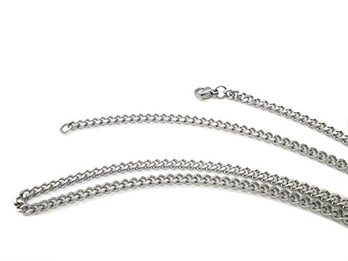 Beveled Curb Chain (TRUSUPER Jewelry 2mm Titanium Steel Womens Beveled Curb Link Chain Silver Necklace, 18