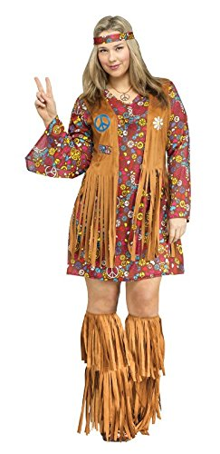 1960s 1970s Dress - Fun World Women's Plsz Peace & Love Hippie Cstm, Multi, Plus Size