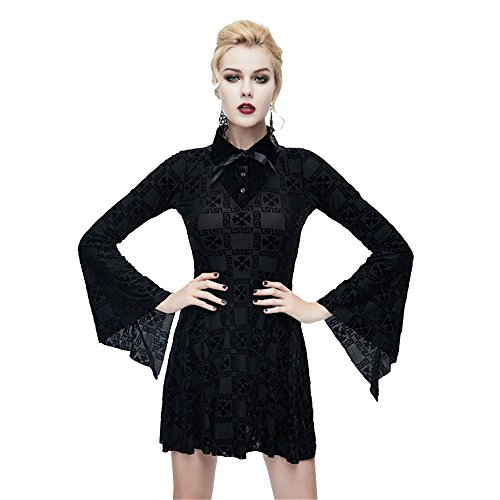 Devil L Rock en Lange Kleid nge Fashion rmel Gothic Frauen Knie Punk Stitching Gr Strecken 3 vWv0qrwa