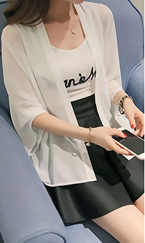 Lunga Sciolto Donna Casual Estate Manica Tinta Moda Bianco Blusa Elegante Top Camicia Cardigan Unita Chiffon Traspirante Sottile Hvzqq