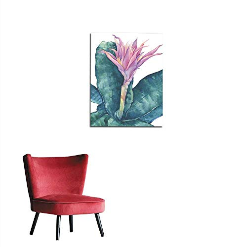 Photographic Wallpaper Blossoming tropical pink flower Aechmea fasciata (Bromeliad aechmea primera silver vase urn plant) with leaves Hand drawn watercolor painting illustration isolatedmural 16