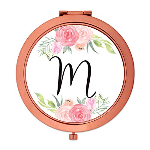 - Andaz Press Compact Mirror Bridesmaid's Wedding Gift, Rose Gold, Monogram Letter M, Peach and Pink Roses, 1-Pack, Bachelorette Bridal Shower Wedding Party Gifts