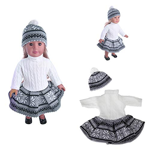 BaBaSM Adorabile 18inch Doll Clothes Per American Girl Doll Maglione + Gonna + Beanie Hat senza Reborn Baby ( Color : Gray 1 )