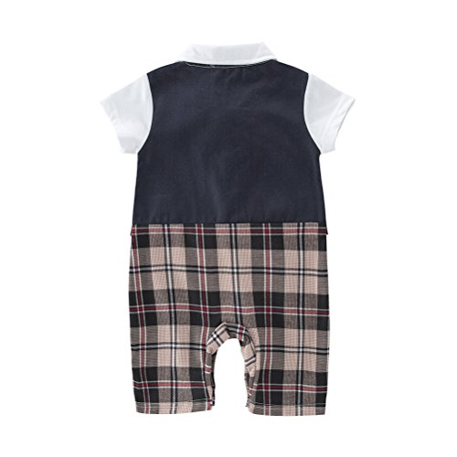 XM Nyan May's Baby Toddler Boys Short Sleeves Bowtie Faux Vest Romper Onesie