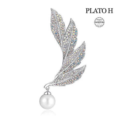 - PLATO H Cultured Pearl & Leaf Brooch with Swarovski Crystal for Her Women Fashion Jewelry