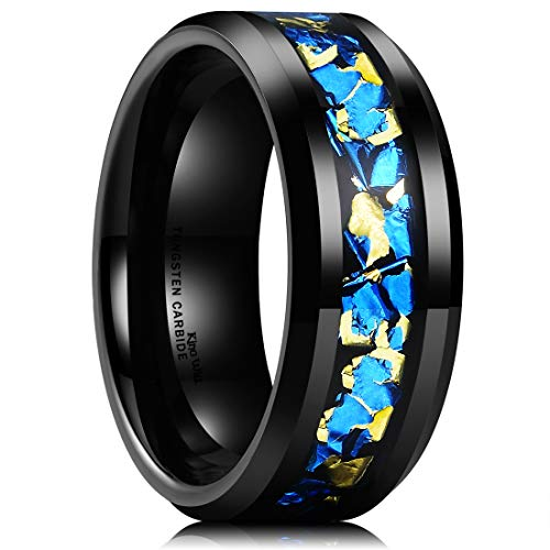 - King Will Nature Mens 8mm Black Tungsten Carbide Wedding Ring with Blue and Gold Foils Inlay Beveled Edge 7.5