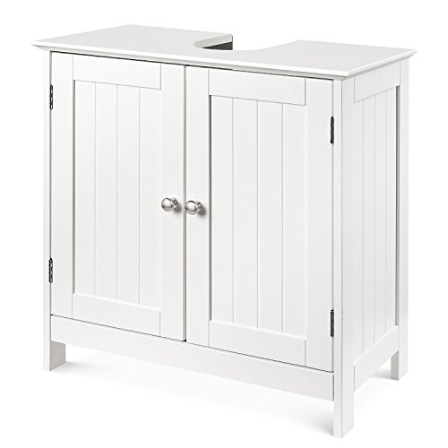 HOMFA Bathroom Under Sink Vanity Cabinet Multipurpose Freestanding Space Saver Storage Organizer Double Doors with Shelves, White Finish Metal Sink Cabinets