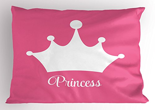 Lunarable Princess Pillow Sham, White Crown on Pink Backdrop Tiara Graphic Princess Word Lettering Print, Decorative Standard Size Printed Pillowcase, 26