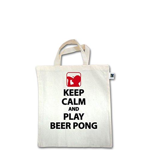 Festival - Keep Calm And Play Beer Pong - Unisize - Natural - XT500 - Fairtrade Henkeltasche / Jutebeutel mit kurzen Henkeln aus Bio-Baumwolle