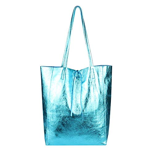 OBC Only-Beautiful-Couture, Borsa a mano donna Rosso Rot 36x40x12 Cm ca.: 36x40x12 cm (BxHxT) blu metallizzato