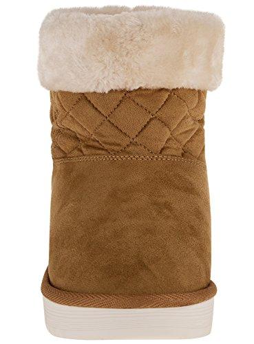 oodji Ultra Damen Stiefeletten mit Kunstfellbesatz Beige (3512B)