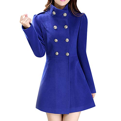 Orangeskycn Women's Double-Breasted High Collar Slim Solid Wool-Blend Winter Pea Coats ()