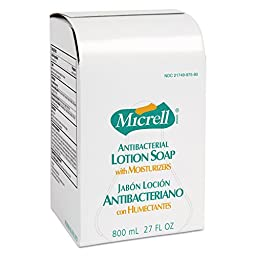 GOJO GOJ 9756-06 MICRELL Antibacterial Lotion Soap, Amber, 800 mL Refill (Pack of 6)