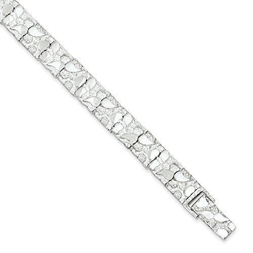 Pampille pépite Bracelet en argent Sterling 8 pouces-JewelryWeb