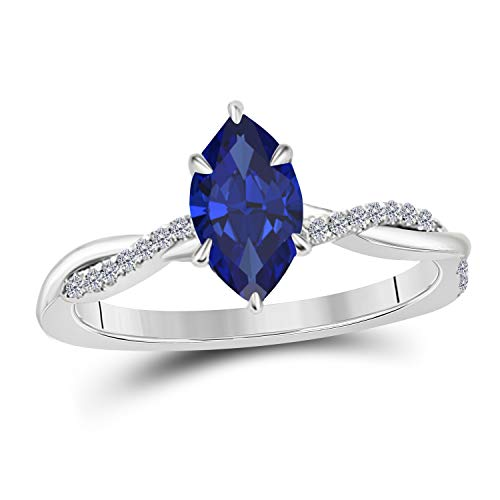 Jewelryhub 1.20 Ct Marquise Shape Created Blue Sapphire 14K White Gold Finish Sterling Silver Swirl Style Engagement Ring for Women's Birthday Gift