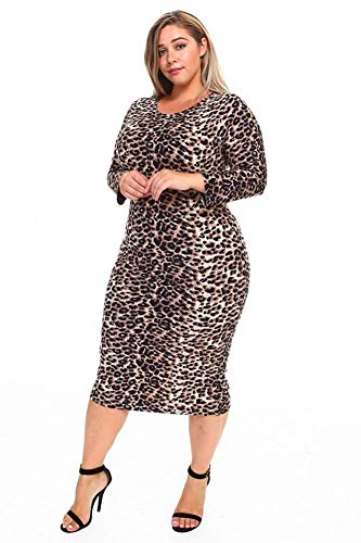 (Fourever Funky Womens Sexy Leopard Print Fitted Bodycon Plus Size Dress (1XL) Brown)