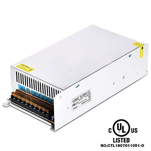 LETOUR DC Power Supplies 12V Converter Output 40A 480W、AC96V~130V Transform  DC 12Volt Power Supply with EMC Filter、Overcurrent and Overvoltage