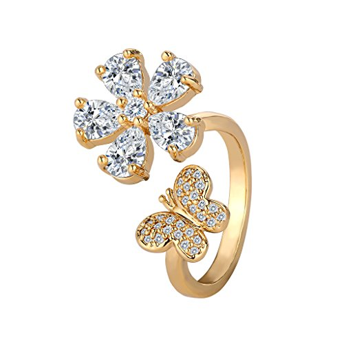 (BriLove Wedding Bridal Cubic Zirconia Ring for Women Hibiscus Flower Lovely Butterfly Open Cocktail Ring Clear Gold-Toned)