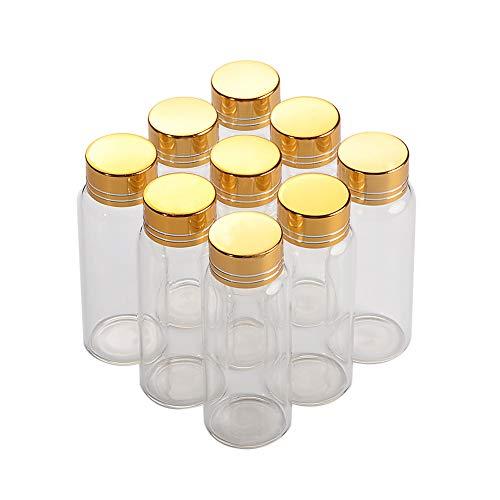 25ml Glass Bottles Screw Top Empty Jars Vial Transparent Glass Bottles Candy Vanilla Pill Food Perfume Bottle Gold Metal Cap 12pcs (12, 25ML) by Jarvials