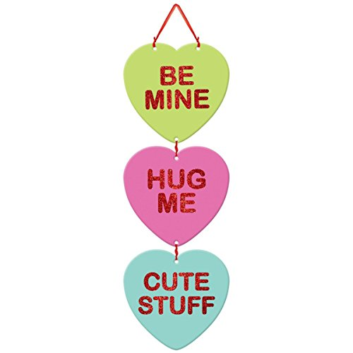 Blushing Valentine's Day Candy Heart Medium Sign with Ribbon Hanger Party Decoration, Board, 18