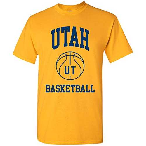 (Utah Classic Basketball Arch Basic Cotton T-Shirt - Medium - Gold )