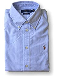 Polo Ralph Lauren Womens Classic Fit Oxford Button Down Shirt, Powder Blue, Large