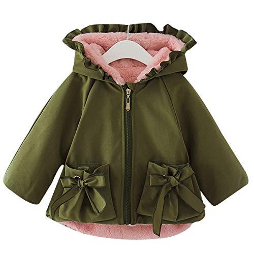 Famuka Winter Baby Girl Jackets Thick Fleece Lined Winter Coat Cute Ruffled Outwear (Green, 2-3 Years)