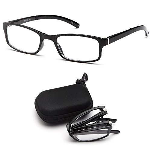 DOUBLETAKE 2 Pairs Foldable Readers Reading Glasses in Portable Zip Cases with Clip for Men and Women - 1.00x