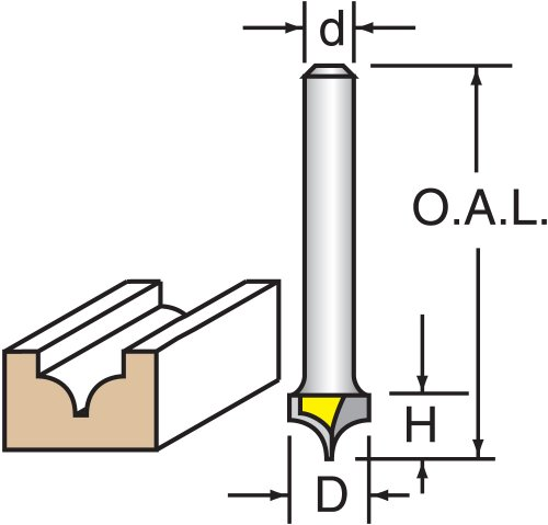 Beading Groove Router Bit (Woodtek 819292, Router Bits, Groove Forming, Ogee, 3/8