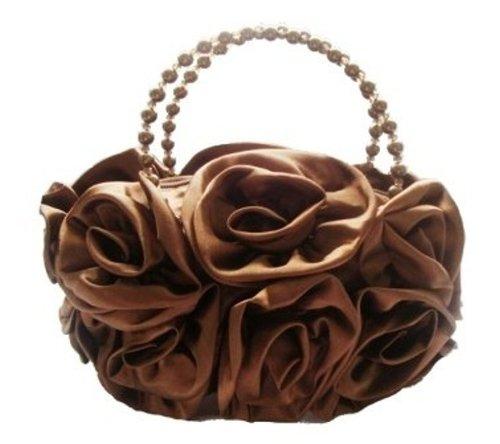 Prom Satin Bridal Bride Silk Flower BLACK Handbag BROWN Party Evening Rose Wedding Clutch T41qHwxz4g