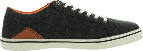 Marco Vitale Mens Danny Casual Denim Toile Lace Up Sneakers Chaussures Noir