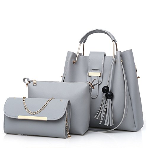 bag+Shoulder Bag+Purse 3pcs Set Tote for Women with Zipper and Pockets ()
