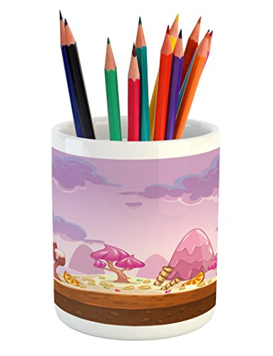 Ambesonne Girls Pencil Pen Holder, Cartoon Sweet Candy Land