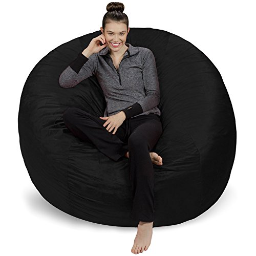 (Sofa Sack - Plush Ultra Soft Bean Bags Chairs for Kids, Teens, Adults - Memory Foam Beanless Bag Chair with Microsuede Cover - Foam Filled Furniture for Dorm Room - Black 6')